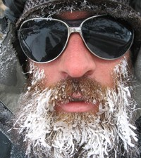 A man with an icy frozen beard