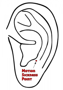 Ear acupuncture point for prevention and treatment of motion sickness