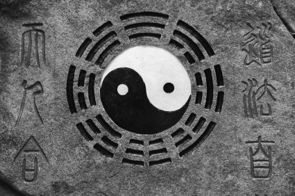 Sign displaying the Taijitu and Bagua